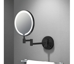 """Tailored Penny Orca Round LED Make Up Mirror 8"""" Black"""