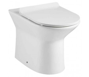 Tailored Ferrara Rimless BTW D Shape Toilet with Slim Soft Close Seat and Fittings