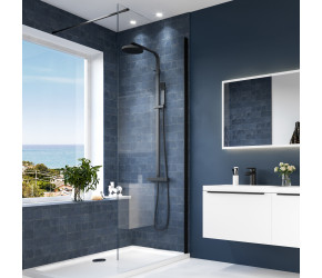 Iona A6 700mm Black Profile Single Wetroom Panel