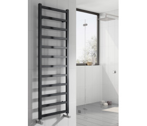 Reina Fano Black Satin Aluminium Towel Rail 1240mm x 485mm