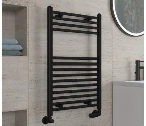 Eastbrook Wingrave Matt Black Straight Heated Towel Rail 800mm x 500mm