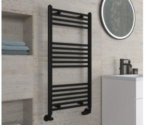 Eastbrook Wingrave Matt Black Straight Heated Towel Rail 1000mm x 500mm