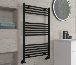 Eastbrook Wingrave Matt Black Straight Heated Towel Rail 1000mm x 600mm
