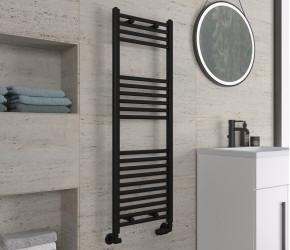 Eastbrook Wingrave Matt Black Straight Heated Towel Rail 1200mm x 400mm