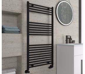 Eastbrook Wingrave Matt Black Straight Heated Towel Rail 1200mm x 600mm