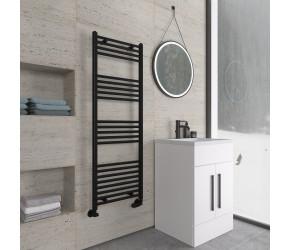 Eastbrook Wingrave Matt Black Straight Heated Towel Rail 1400mm x 500mm
