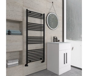 Eastbrook Wingrave Matt Black Straight Heated Towel Rail 1400mm x 600mm