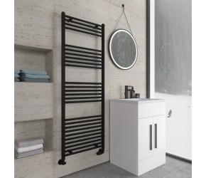 Eastbrook Wingrave Matt Black Straight Heated Towel Rail 1600mm x 600mm