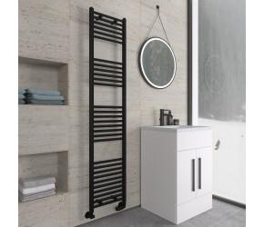 Eastbrook Wingrave Matt Black Straight Heated Towel Rail 1800mm x 400mm