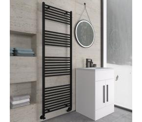 Eastbrook Wingrave Matt Black Straight Heated Towel Rail 1800mm x 600mm