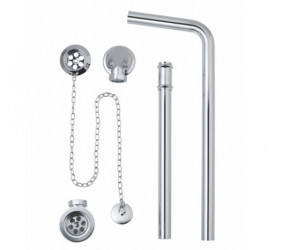 BC Designs Chrome Exposed Bath Plug & Chain Waste with Overflow Pipe