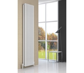 Reina Round White Double Panel 1800mm x 295mm Designer Radiator