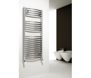 Reina Diva Curved Chrome Heated Towel Rail 1200mm x 450mm