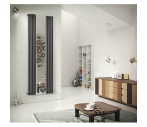 Eastgate Reflection Anthracite Single Panel Mirror Designer Radiator 1800mm x 584mm